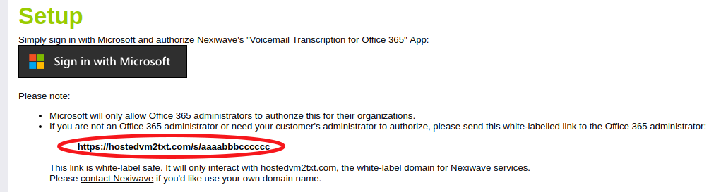 Nexiwave Voicemail Transcription for Office365 White-Label Consent Link